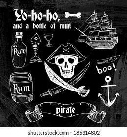 Collection of Pirate Design Elements in Vintage Style. Vector Illustration
