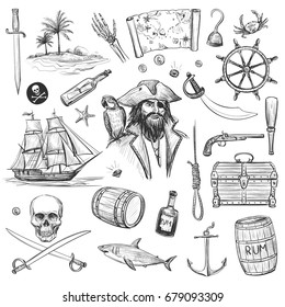 Collection of pirates, sea adventures. Vector hand drawings