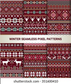 Collection of pixel bright seamless patterns with stylized winter Nordic ornament. Vector illustration.