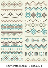 Collection of pixel retro brush templates with stylized winter Nordic ornament. Vector illustration.