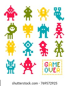 Collection of pixel robot monsters. Vector illustration of colorful creatures from video game.