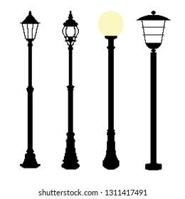 Collection of pixel streetlights.London street lamp icon. England vintage lantern. Pixel art. Isolated vector illustration