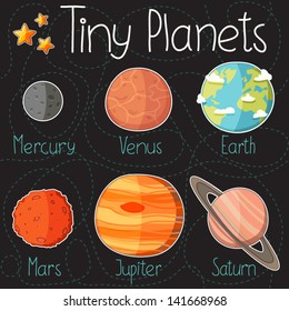 Collection of planet stickers form Mercury to Saturn. Cartoon planet icons. Kid's elements for scrap-booking. Childish background. Hand drawn vector illustration.