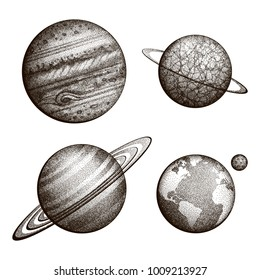 Collection of planets in solar system. Engraving style. Vintage elegant science set. Sacred geometry, magic, esoteric philosophies, tattoo, art. Isolated hand-drawn vector illustration.