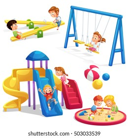 collection of playground cartoon, vector art and illustration.