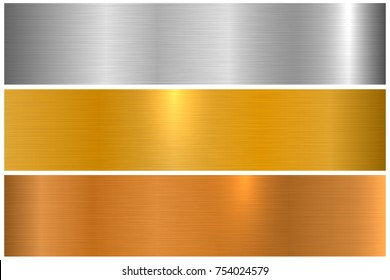 Collection of polished metallic textures. Shiny metal banners.