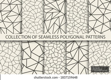 Collection of polygonal geometric patterns. Monochrome repeatable abstract backgrounds. Mosaic trendy prints. You can find seamless design in swatches panel.