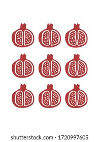 Collection of pomegranate fruit isolated on white background. Vector illustration. Postcard template