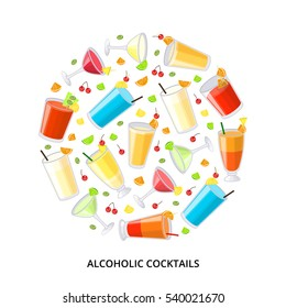 Collection of popular alcoholic drinks composed in circle shape on white background.