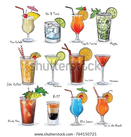 7a15775d4 Collection Popular Cocktails Menu Vector Illustration Vector de ...