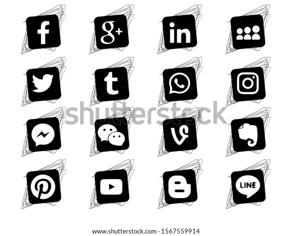 Collection of popular social media icons on a white background