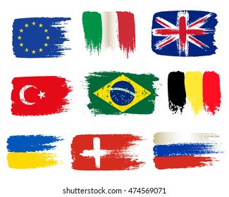 Collection of popular world flags, brush strokes painted flags, isolated on white background, vector illustration.
