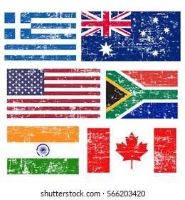 Collection of popular world flags, grunge old flags, isolated on white background, vector illustration.