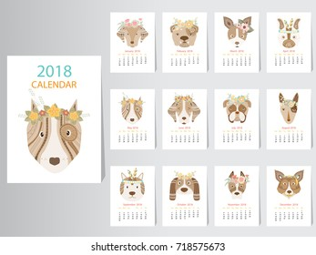 Collection of portrait dog calendar 2018 design,The year of the dog monthly cards templates,Vector illustrations.