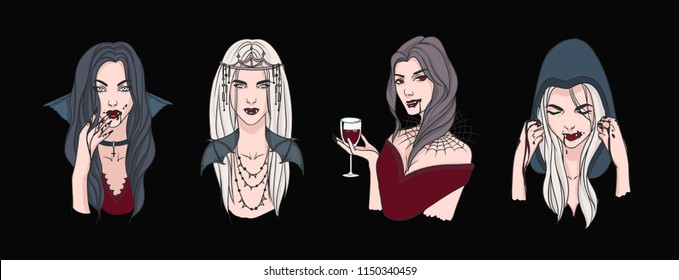 Collection of portraits of beautiful female vampires. Bundle of elegant gothic ladies drinking blood. Set of scary creatures isolated on dark background. Vector illustration in realistic style.