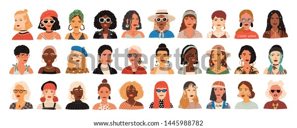Collection of portraits of cute funny young stylish women. Bundle of smiling hipster girls with different hairstyles and accessories. Set of modern female avatars. Flat cartoon vector illustration.