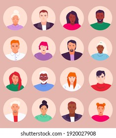 Collection of portraits of different people. Avatars for website, profile. Editable vector illustrations