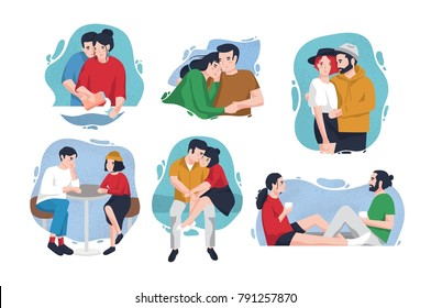 Collection of portraits of happy couples in love inside colorful blots. Lovers in various situations - hugging, sitting at table, drinking coffee. Cute flat cartoon characters. Vector illustration.
