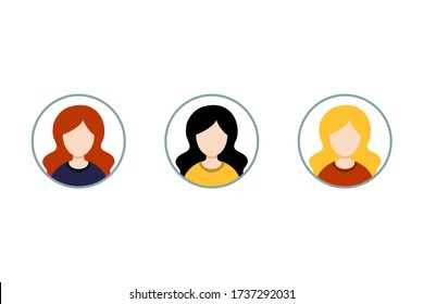 Collection of portraits or heads of female cartoon characters. Blonde, brunette, redhead. Set of avatars. Vector, flat design.