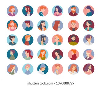 Collection of portraits of male and female characters. Set of avatars.