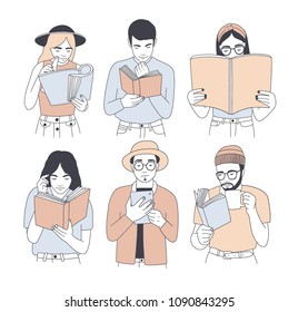 Collection of portraits of men and women reading paper and electronic books isolated on white background. Set of young male and female readers dressed in trendy clothes. Cartoon vector illustration