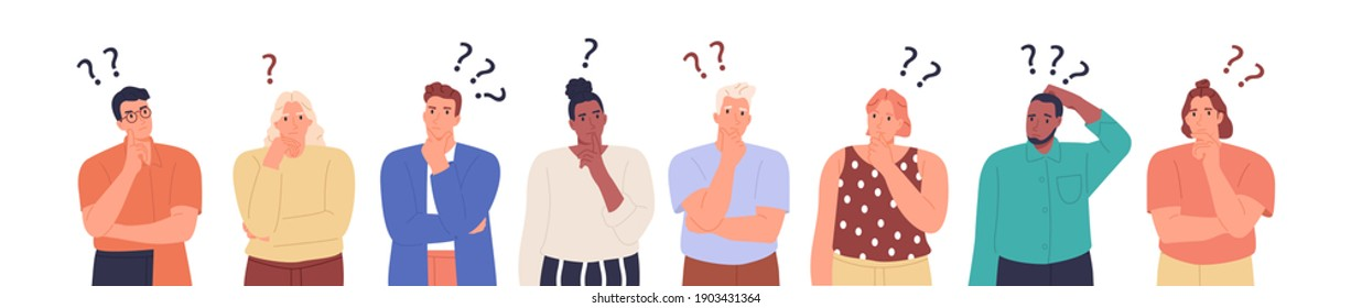 Collection of portraits of thoughtful people. Bundle of smart men and women thinking or solving problem. Vector illustration