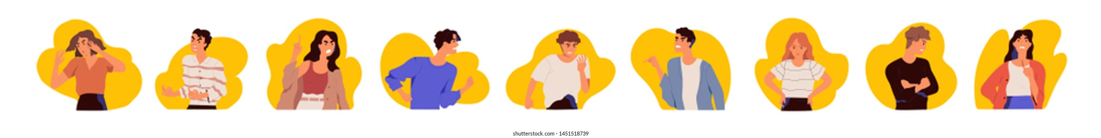 Collection of portraits of young men and women expressing anger, wrath, rage, fury. Bundle of angry, grumpy, irate or furious people isolated on white background. Flat cartoon vector illustration.