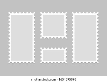 Collection of postage stamps template, blank. Vector illustration. EPS 10