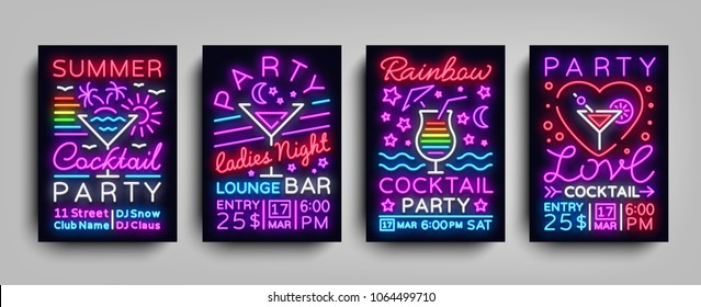 Collection posters Cocktail party neon. Flyer template design in neon style. Set flyers cocktail party invitation to dance, light banner bright brochure nightlife night neon. Vector illustration