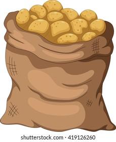 collection potato cartoon on the sack
