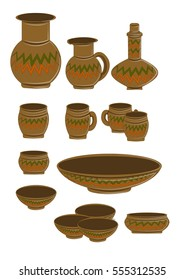 Collection of pottery of different ethnic orange and green pattern. Cups, saucers, plates, glasses, pitcher, bowl. Vector illustration, isolated on a white background.