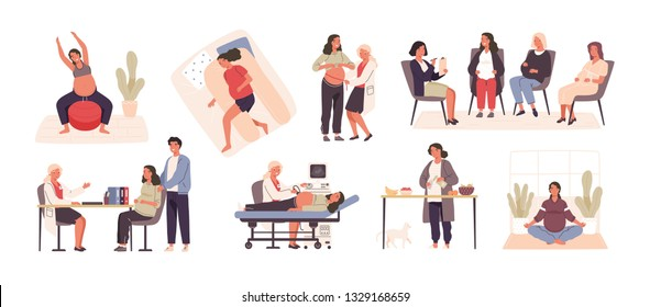 Collection of pregnant woman visiting doctor or physician, performing yoga or gymnastic exercise, cooking, sleeping, meditating. Happy pregnancy set. Vector illustration in flat cartoon style.
