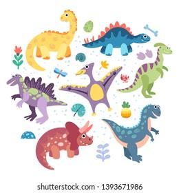 Collection of prehistoric animals triceratops, t-rex, pteranodon, spinosaurus, stegosaurus, velociraptor, parasaurolophus. Set of vector flat dinosaurs with elements: leaves, footprints, flowers.