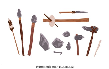 Collection of prehistoric stone tools. Bundle of rock weapons and equipment used by archaic human or caveman for hunting, fire lighting, manual work. Flat cartoon colorful vector illustration