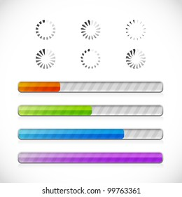 Collection of preloaders and progress loading bars. Vector illustration