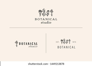 Collection of Premade Hand Drawn Logo with Wild Flower and Leaves. Logo for spa and beauty salon, boutique, organic shop, wedding, floral designer, interior, photography, cosmetic. Floral element