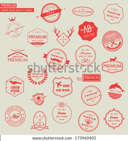 COLLECTION OF PREMIUM DESIGN ELEMENTS SUCH AS LOGOS. For web, blog, stickers,labels, and logo elements. Editable vector illustrator file.