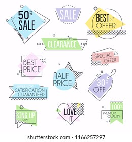 Collection of premium promo seals/stickers. Isolated vector illustration.