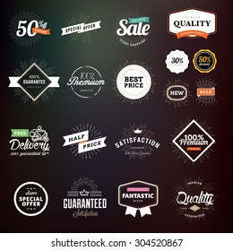Collection of premium quality badges and labels for designers. Vector illustrations for e-commerce, product promotion, advertising, sell products, discounts, sale, clearance, the mark of quality.