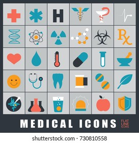 Collection of premium quality icons for medical care and protection. Premium quality icons set.