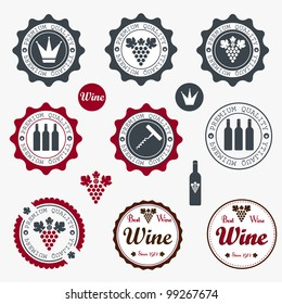 Collection of Premium Quality Wine Labels with retro vintage styled design