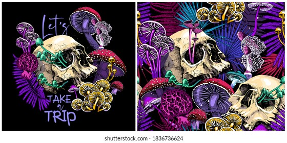 Collection of print and seamless pattern. Bright Magic Psychedelic Mushrooms and skulls. Humor textile composition, hand drawn style print. Vector illustration.