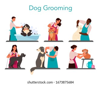 Collection of professional barber grooming dog. Woman and man caring of pet fur - cutting and brushing fur, washing. Vector illustration in cartoon style