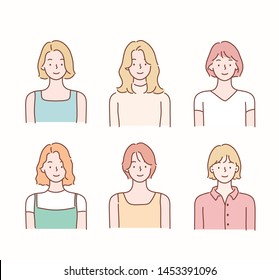 Collection of profile portraits or heads of  female cartoon characters with various hairstyles. Hand drawn style vector design illustrations.