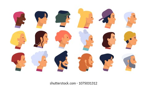 Collection of profile portraits or heads of male and female cartoon characters with various hairstyles and accessories isolated on white background. Set of avatars. Vector illustration in flat style