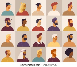 Collection of profile portraits or heads of male cartoon characters. Various nationality. Blond, brunet, redhead, african american, asian, muslim, european. Set of avatars. Vector, flat design