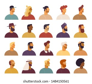 Collection of profile portraits. Male cartoon characters various nationality. Blond, brunet, redhead, african american, asian, muslim, european, latin. Set of avatars. Vector, flat design