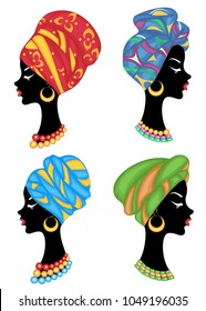 Collection. Profile of a sweet lady. On the head of an African-American girl is a knitted shawl, a turban. The woman is beautiful and stylish. Vector illustration set.