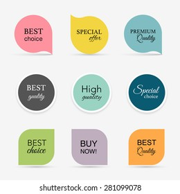 Collection of promo seals/stickers. Isolated vector illustration