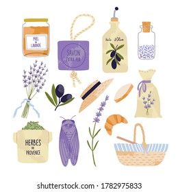 Collection of provence souvenirs. Ceramic bottle for olive oil, lavender, picnic basket, boater, ceramic cicada, honey, lavender products, calisson. Isolated vector illustration on white background.